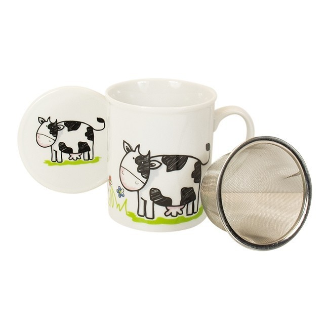 "losse-thee-tea4you-Beker ""Boer Bart"" met filter en deksel Koe-31"